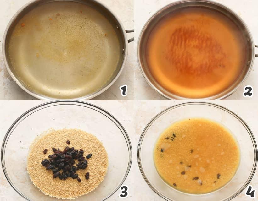 Preparing couscous and raisins