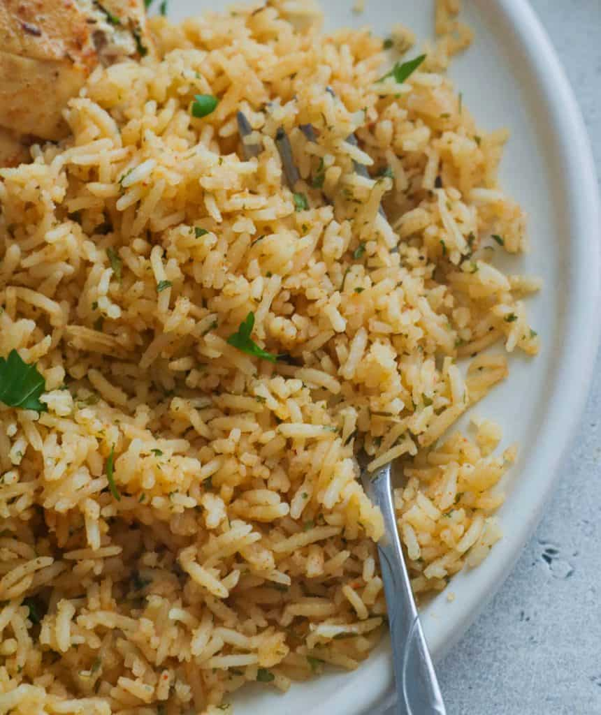 Seasoned Rice in a White Plate