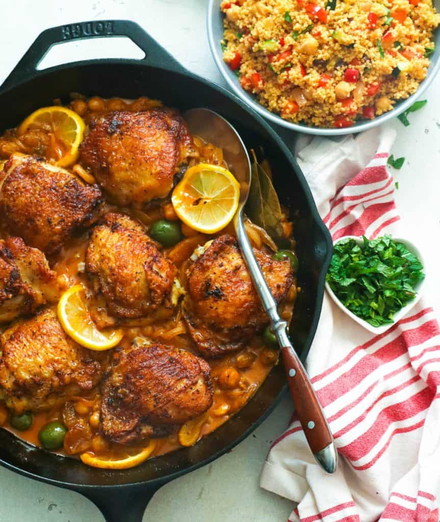 Chicken Tagine Served with Couscous on the Side
