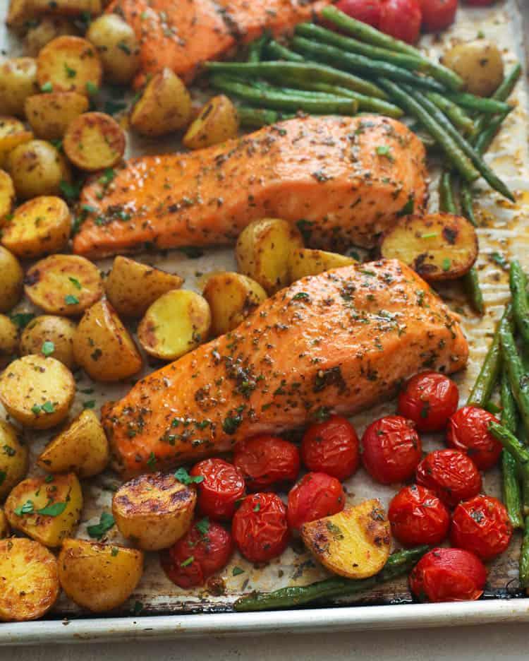 One Sheet Pan Cajun Salmon and Vegetables