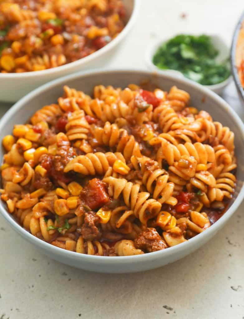A Bowl of Saucy Meaty Taco Pasta