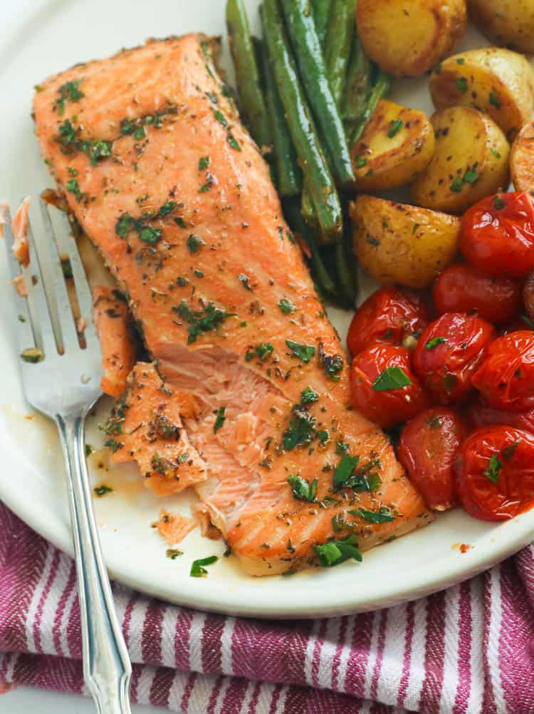 A Serving of Cajun Salmon and Vegetables on a Plate
