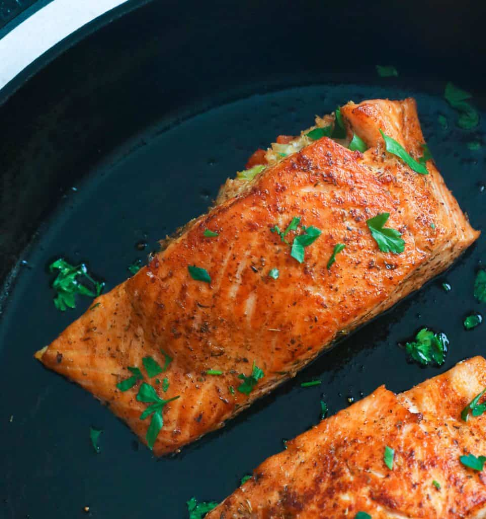 Crab Stuffed Salmon in a Skillet