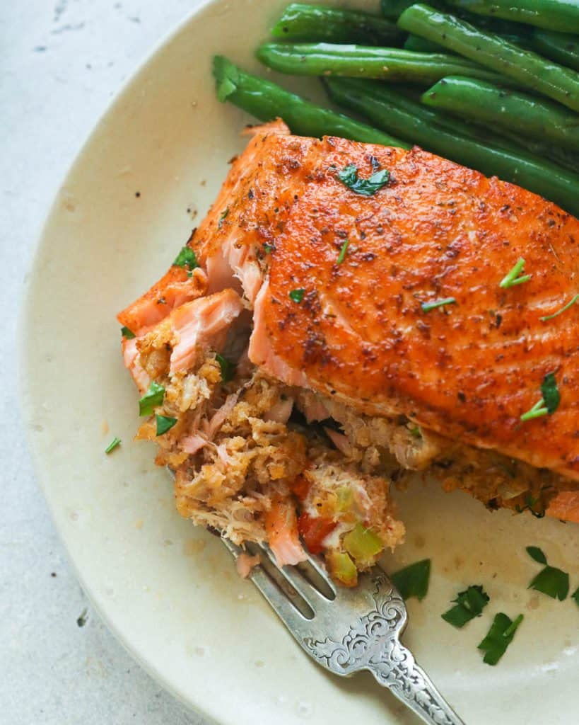 Crab Stuffing in Baked Salmon