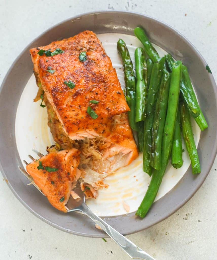 Crab Stuffed Salmon with String Beans on the Side