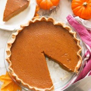 Pumpkin Pie with a slice gone