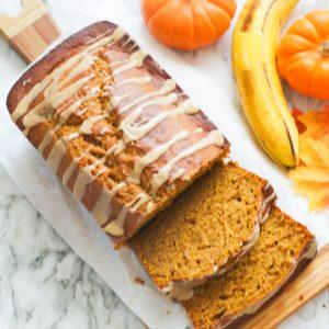 Pumpkin Banana Bread with fresh banana and baby pumpkins