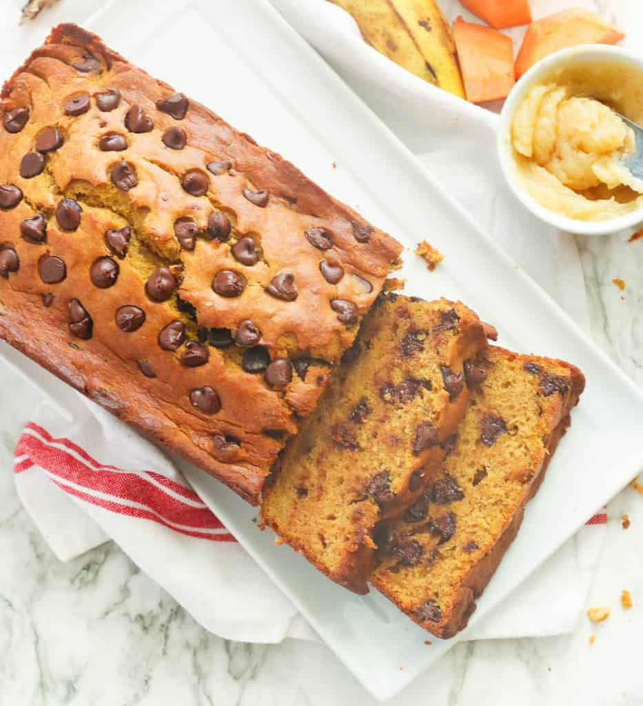 Pumpkin banana bread topped with chocolate chips