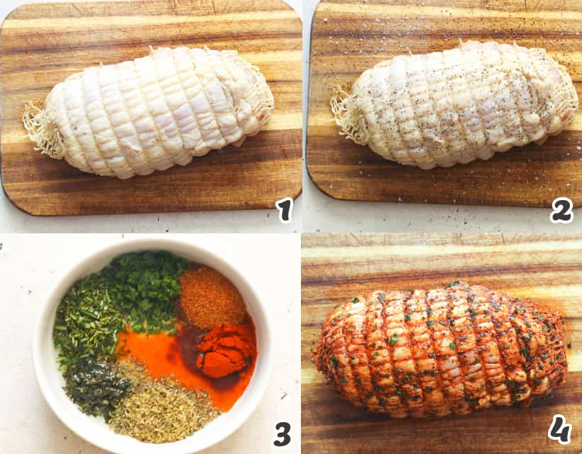 Rubbing the turkey with herb butter