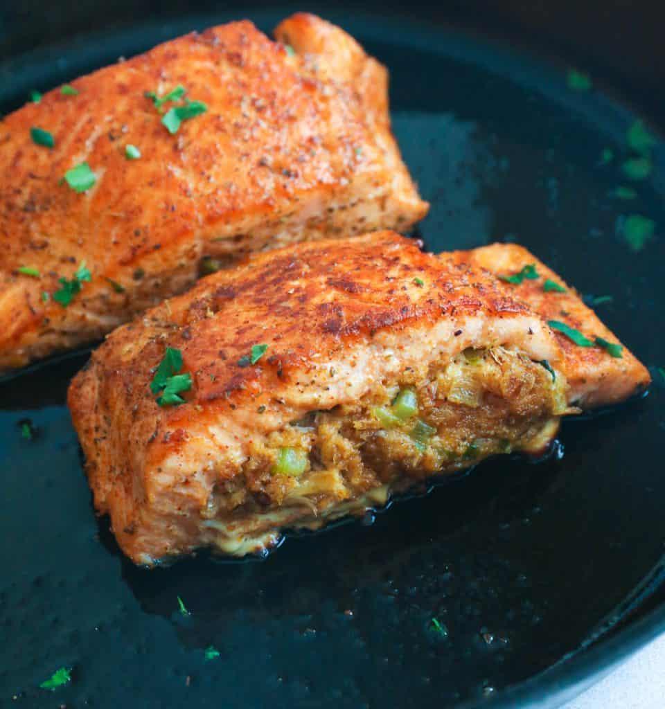 Crab Stuffed Salmon in Skillet