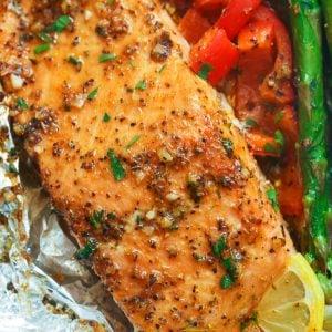 Salmon in Garlic Butter Sauce
