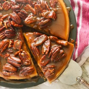 Getting a slice of pecan pie cheesecake